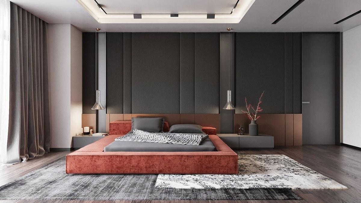 Mẫu phòng ngủ không giường với tông màu đỏ đất và xám tro mang nét hiện đại, vượt thời gian