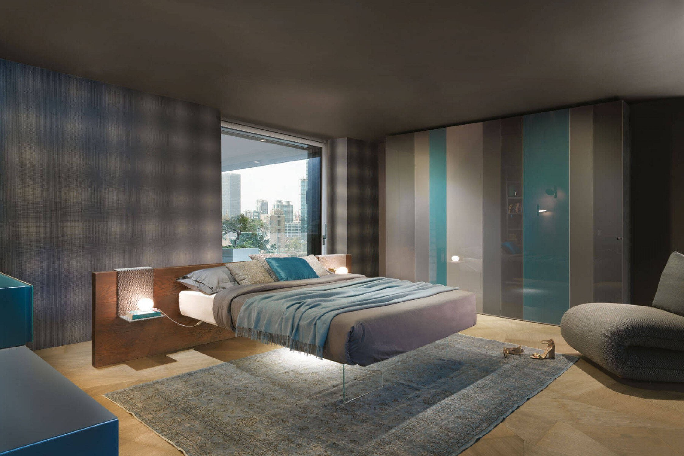 Mẫu thiết kế phòng ngủ này khiến ai nấy đều rất thích thú với chiếc giường như được