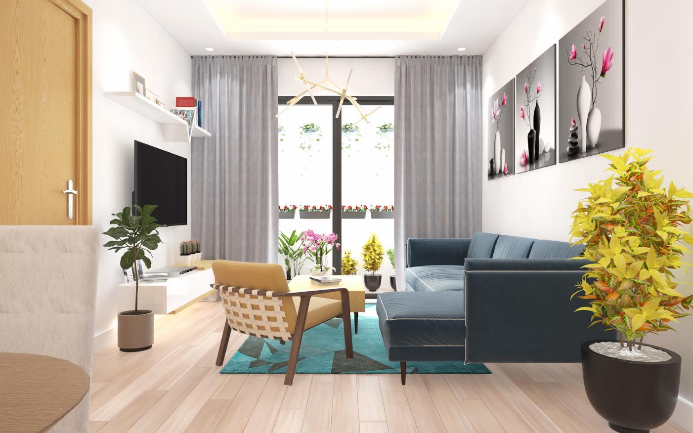 Mẫu thiết kế nội thất chung cư 54m2