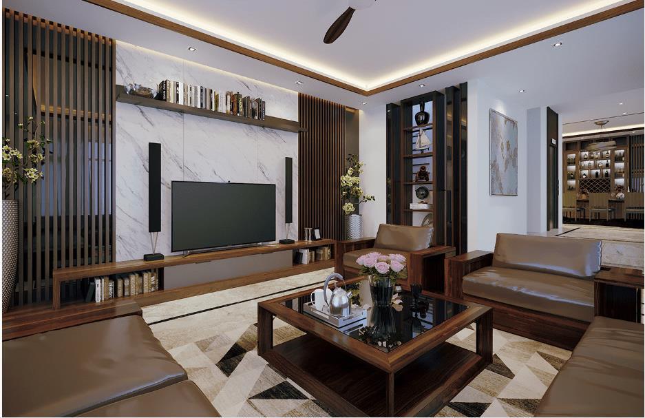 Mẫu thiết kế nội thất phòng khách chung cư 2 phòng ngủ