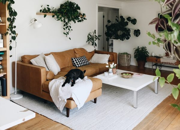 The Sven Charme Tan Sectional in situ in the BevCooks' home.
